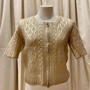Magaschoni Metallic Gold Foil Cable Sweater MEDIUM